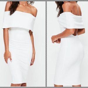 NWT ASOS white off the the shoulder midi dress